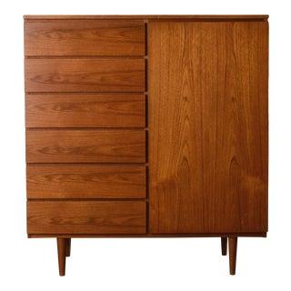 Danish Modern Teak Gent's Chest Dresser For Sale