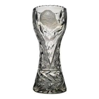 "Antique Abp Vase American Brilliant Cut Glass Irving ""White Rose"" For Sale"