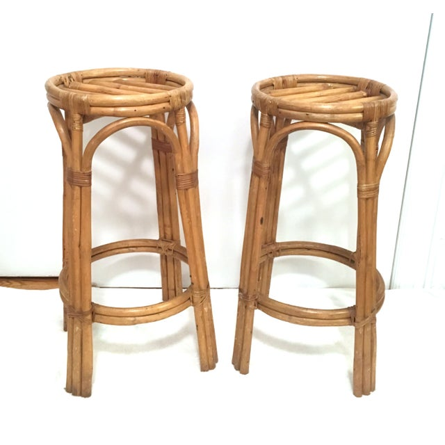 Boho Chic Vintage Rattan Stools or Plant Stands - a Pair For Sale - Image 3 of 7