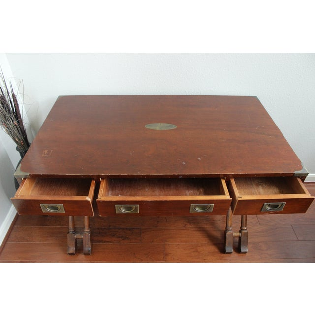 Campaign Style Double X Base Writing Desk - Image 9 of 11