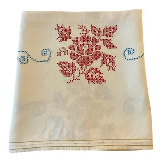 Antique 1930s Cross-Stitched Embroidered Linen Tablecloth For Sale