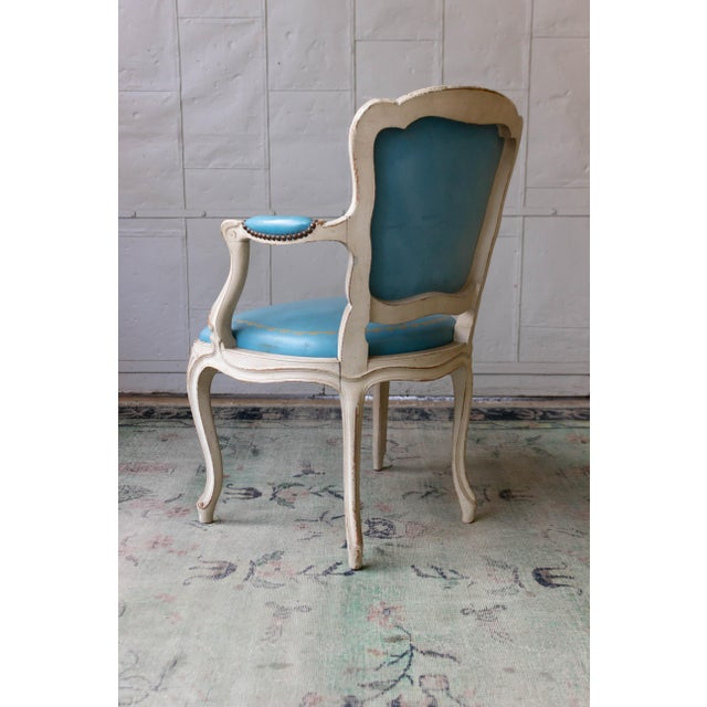 Blue 1960s Louis XV Style Blue Leather Armchairs - Set of 4 For Sale - Image 8 of 12
