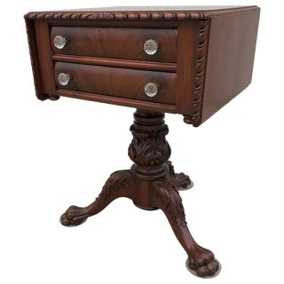 Classical Carved Mahogany Sewing Stand With Acanthus Carved Urn, Claw Feet For Sale