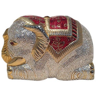 Rare Judith Leiber Swarovski Crystal Elephant Minaudiere Evening Bag Clutch For Sale