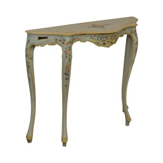 Italian Venetian Hand Painted Narrow Serpentine Console Table For Sale