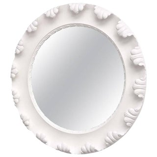 Grosfeld House Style Hollywood-Regency Round White Mirror, 1940s