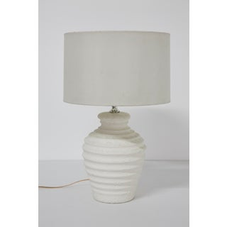 1993 Elite Postmodern Distressed Plaster Ribbed Table Lamp Preview