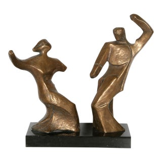 "Pearl Amsel ""Dancing Couple"" Bronze Sculpture For Sale"