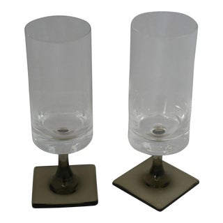Mid-Century Modern Rosenthal Studio Line Smoke Footed Wine Glasses - A Pair