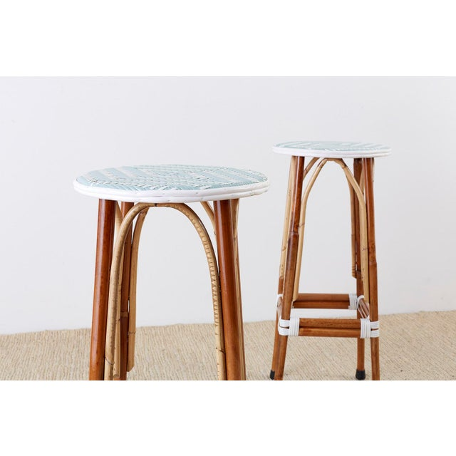 Late 20th Century Set of Three Maison Gatti Rattan French Bistro Barstools For Sale - Image 5 of 13