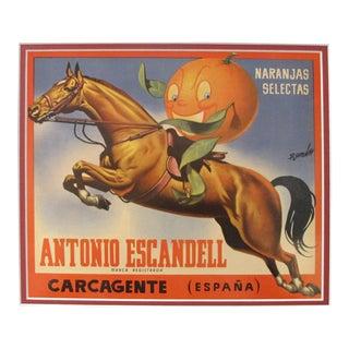 1920's Original Vintage Spanish Fruit Crate Label - Antonio Escandell - Carcagente (Espana) - Naranjas Selectas For Sale