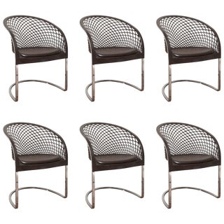 Set of Six Chrome and Leather Matteo Grassi Dining Chairs, 1970s For Sale
