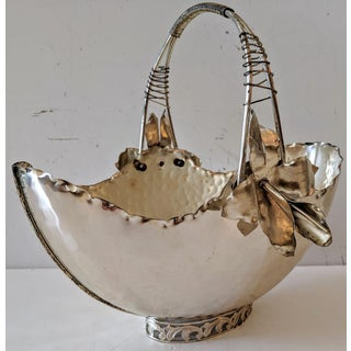 Vintage Italian Silver-Plate Metal Basket with Hand-Made Metal Orchids Preview