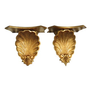 Large Vintage Palm Beach Style Giltwood Shell Wall Brackets / Shelves- a Pair For Sale