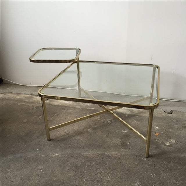 Baughman Style Brass & Glass Swivel Coffee Table - Image 3 of 9