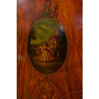 English Mahogany Linen Press With Painted Oval Motif Preview