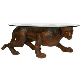 "Life-Like Carved Wood Over-Sized Mid-Century ""Leopard"" Cocktail Table For Sale"