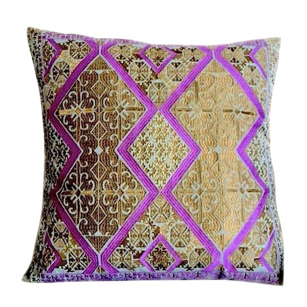 Swati Gold Embroidered Pillow For Sale