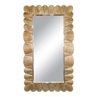 Gold Leaf Shells Murano Glass Framed Mirror For Sale