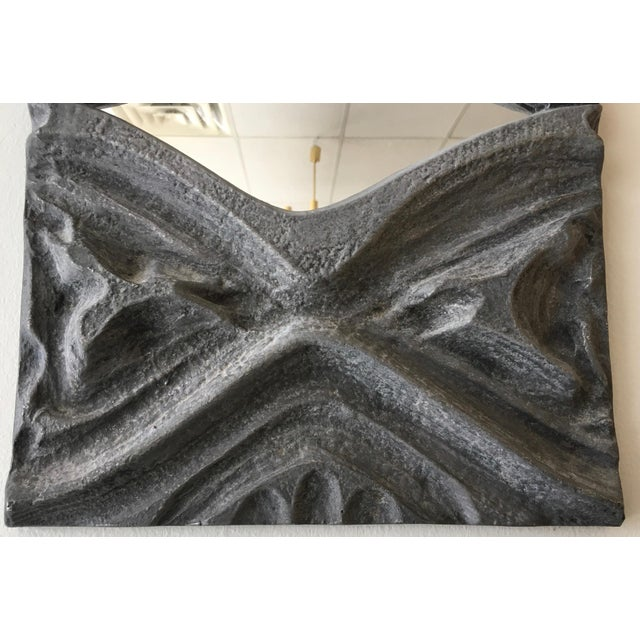 Brutalist Style Pewter Mirror For Sale - Image 4 of 5