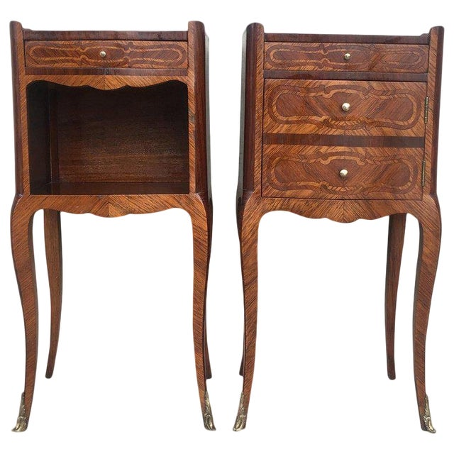 Pair of French Marquetry Walnut Bedside Tables With Drawers and Open Shelf For Sale
