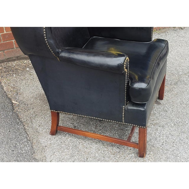 Hickory Chair Furniture Company Vintage Hickory Chair Co. Black Vinyl Upholstered English Style Wingback Library Armchair C1960s For Sale - Image 4 of 9