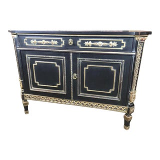 Lingel Ebonized Commode Cabinet with Secretaire Drawer Desk Sideboard For Sale