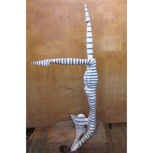 "Ceramic Original Studio Art Postmodern Ceramic ""Acrobat"" Figural Blue Striped Biomorphic Form Sculpture by Jack Charney For Sale - Image 7 of 13"
