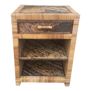 Rattan End Table With Drawer For Sale