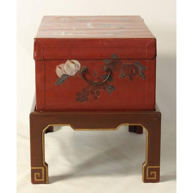 Asian Hand-Painted Chinese Trunk on Stand For Sale - Image 3 of 8