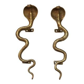 Hollywood Regency Gold Brass Cobra Door Handles- a Pair