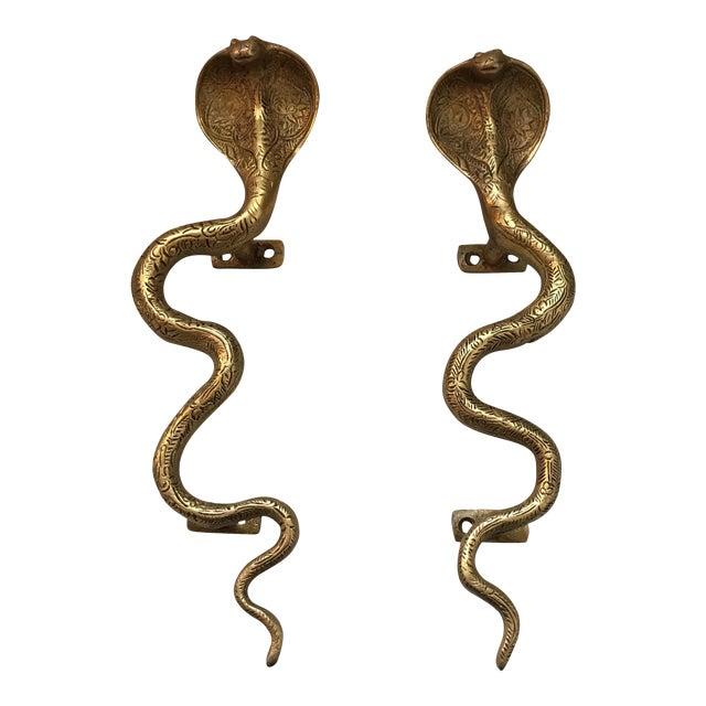Hollywood Regency Gold Brass Cobra Door Handles- a Pair - Image 1 of 11