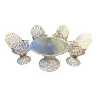 Vintage Spun Fiberglass Russell Woodard Style Outdoor Dining Set - 5 Pieces For Sale