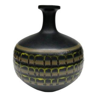 Mid-Century Large Black Drippy Banded Glaze Vase For Sale
