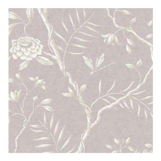 Lewis & Wood Jasper Peony Lilac Botanic Style Wallpaper Sample For Sale