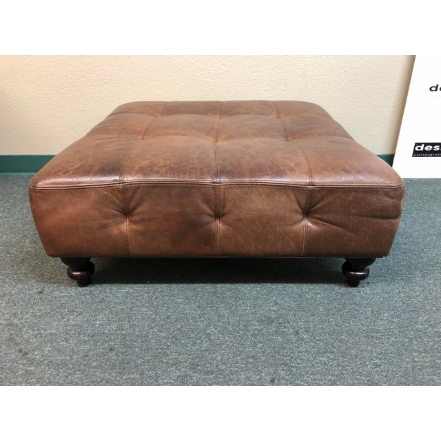 Tufted Leather Ottoman, by Ballard Designs For Sale - Image 10 of 10