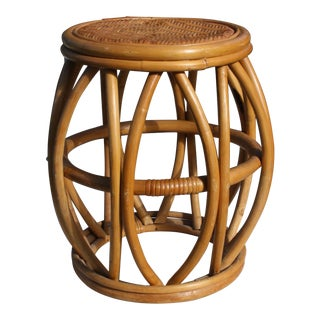 Mid-Century Bentwood Bamboo, Wicker & Rattan Drum Stool For Sale
