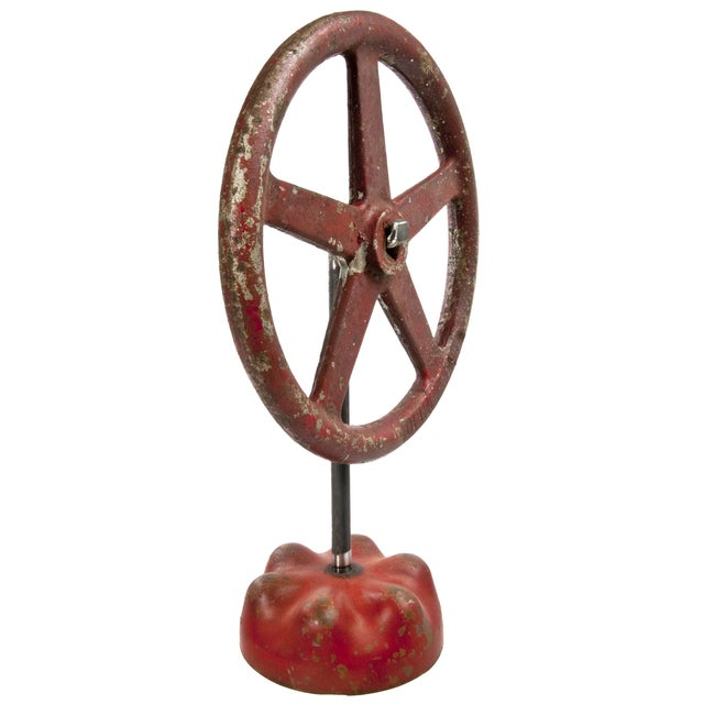 Vintage Cast Iron Valve Handle on Stand - Image 2 of 3