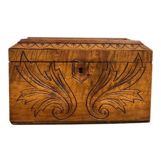 Antique Carved Maple Sewing Box For Sale
