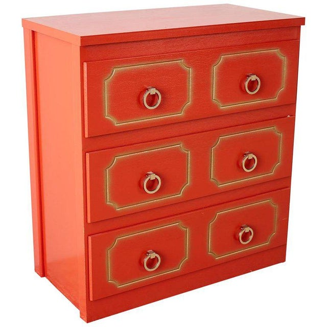 Dorothy Draper Style Coral Red Commode or Chest For Sale - Image 13 of 13