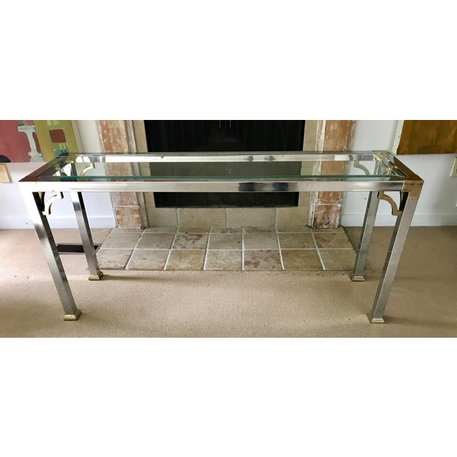 Mid Century Chrome and Glass Console / Sofa Table - Image 5 of 11