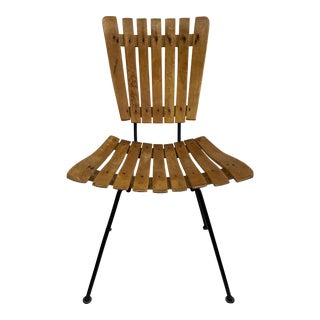 Mid 20th Century Custom Made Wooden Chair + Metal Pin Legs For Sale
