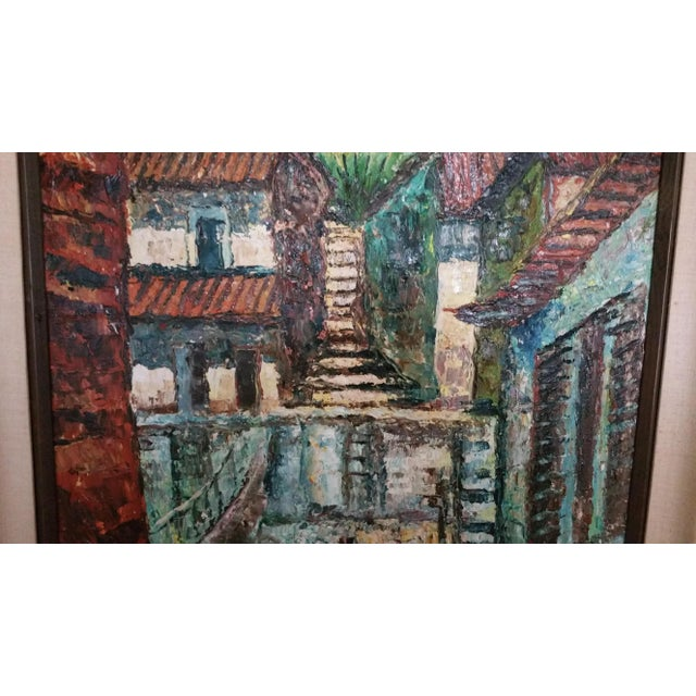 Mid-Century Impressionist Cityscape Oil Painting - Image 4 of 8