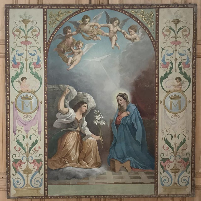 19th Century Grand Oil Painting on Canvas of the Annunciation For Sale - Image 13 of 13