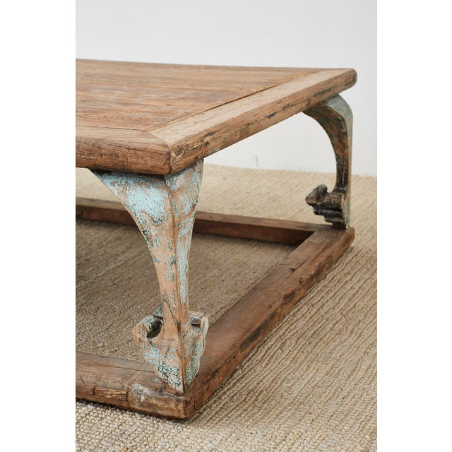 Wood Monumental Weathered Pine Coffee Cocktail Table For Sale - Image 7 of 13
