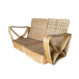 Restored Paul Frankl Six-Strand Wicker Sofa Rattan Living-Room Set W/ Side Table and Ottoman For Sale