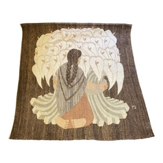 """Handwoven Wall Hanging of Diego Rivera's """"The Flower Vender."""" For Sale"""