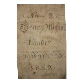 German Printed Black Writing Hemp Linen Textile Grain Sack For Sale