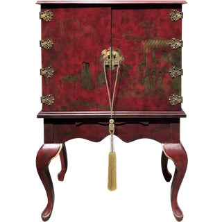 Asian Chinoiserie Style Wooden Dry Bar Cabinet For Sale