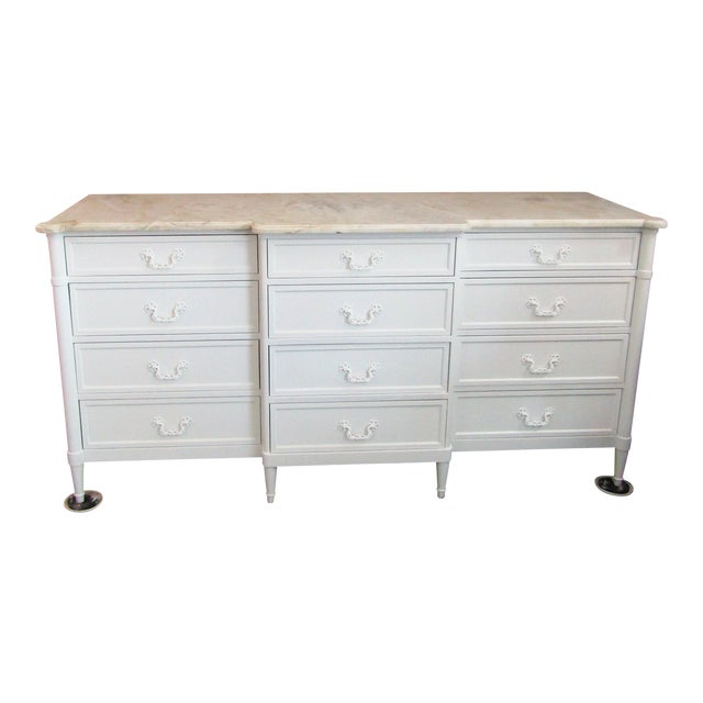 1970s Mid-Century Modern 12- Drawer Marble Top Chest For Sale